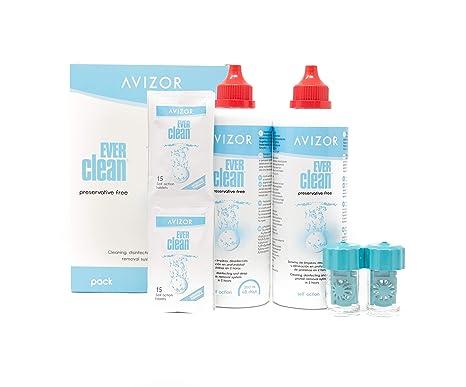 5babd413c10084 Avizor Ever Clean Lot de 2 flacons de 350 ml Entretien lentilles avec  bio-indicateur