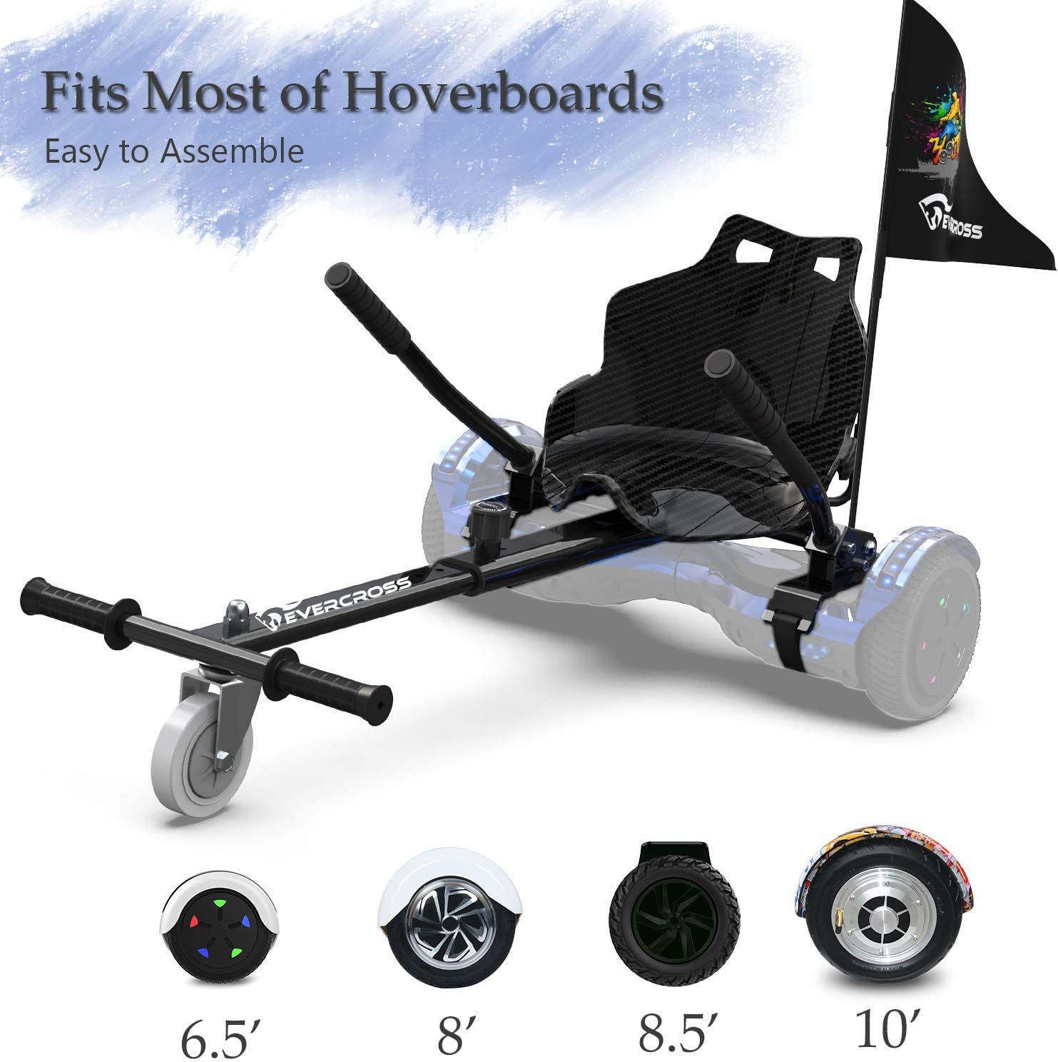 Hoverboard Attachments EverCross Hoverboard Seat Attachment Hoverboard Accessories with Adjustable Frame Length Compatible with 6.5 8 8.5 10 Hoverboard for Kids Adults