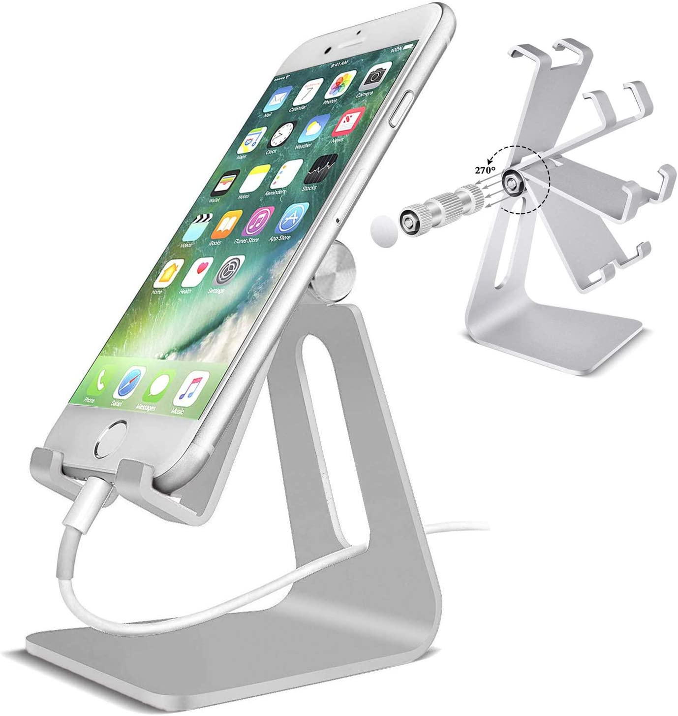 POKANIC Cell Phone Stand Dock Holder Cradle Mount Organizer Charger StationTable, Desktop Bed Office School Kitchen Travel Foldable Portable Adjustable, Multi-Angle Aluminum Non-Slip, Kids (Silver)