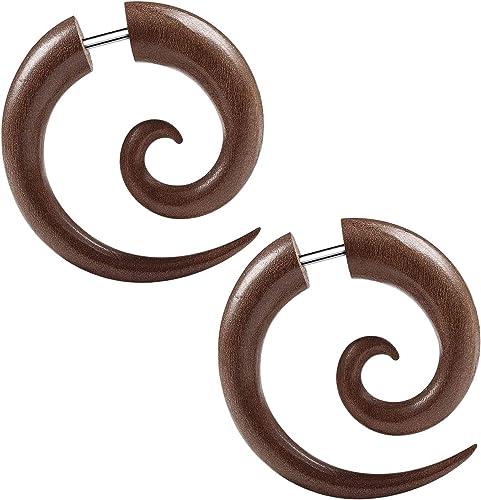 Wooden Earrings Wood Piercing Tribal Gauge Ear Fake Expander Spiral Brown gauge