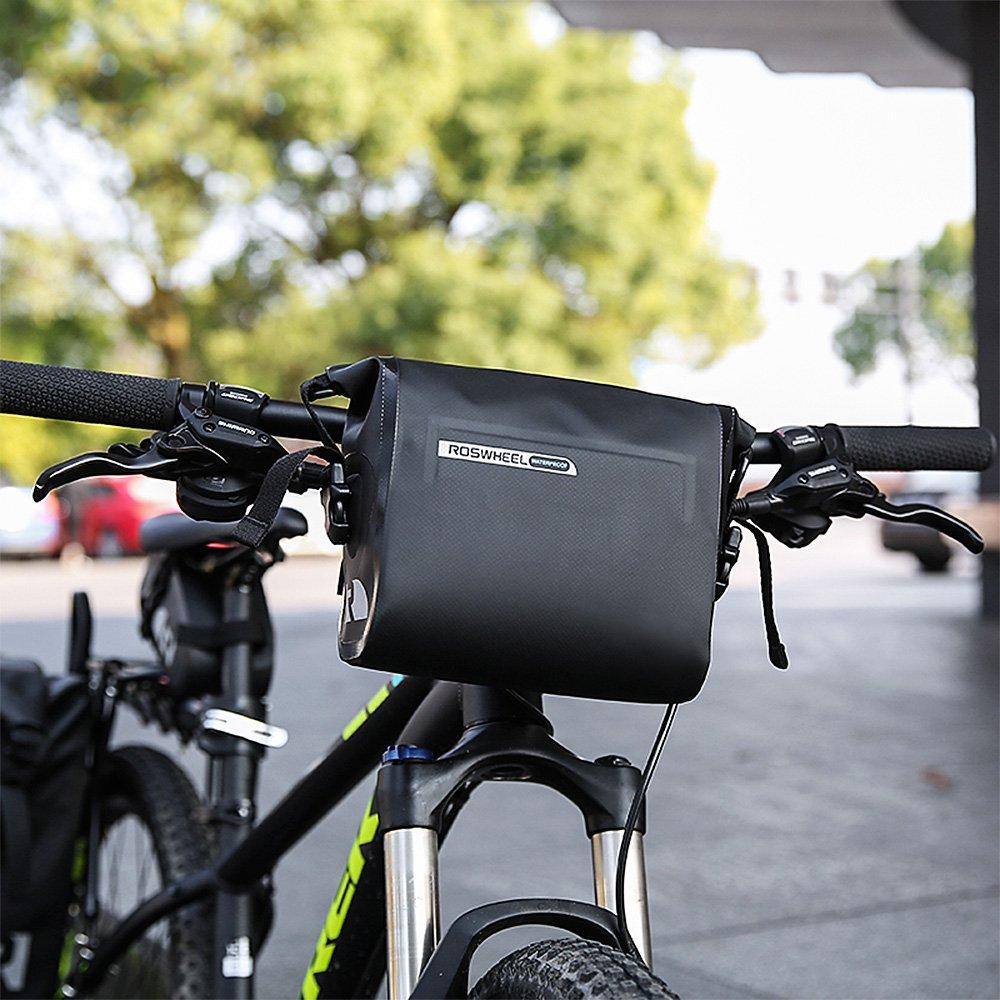 allnice Bike Handlebar Bag Waterproof 3L Mountain Road MTB Bike Cycling Bicycle Top Tube Handlebar Bag Front Frame PVC Bag Roll Top Design Front Pannier Basket Bag by allnice (Image #8)