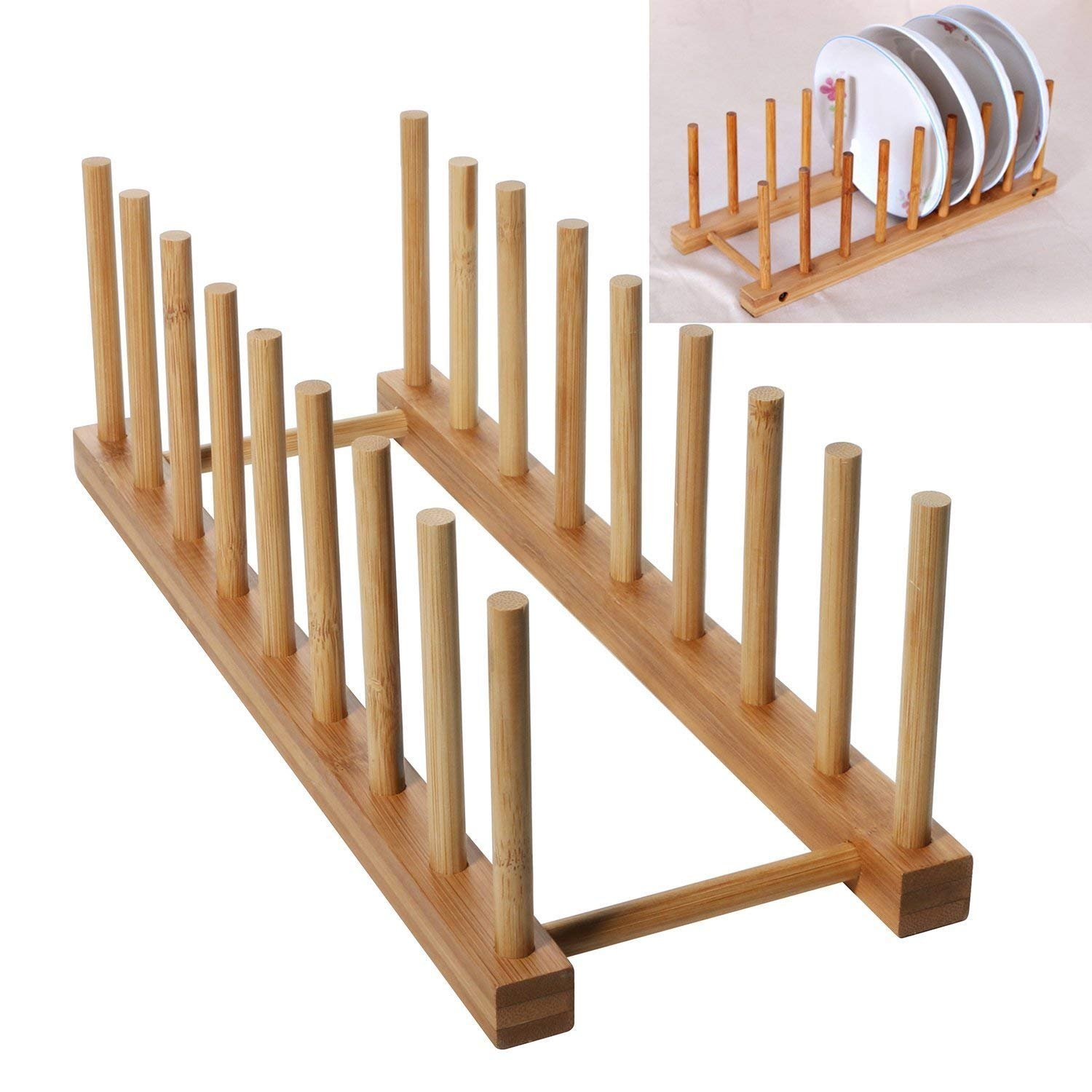 WINIT Bamboo Dish Drying Holder Rack, Vertical Plate Dishes Drainboard Drying Drainer Storage Holder Stand Kitchen Cabinet Organizer for Dish Plate Bowl Cup Pot Lid Book (Large/8) by WINIT (Image #1)