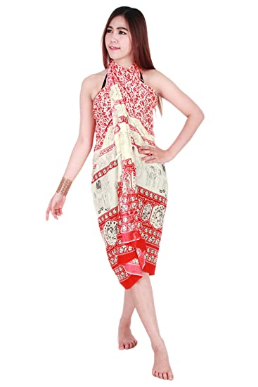 65e28e45e5 Image Unavailable. Image not available for. Color: Elephant Pattern Sarong  Pareo Skirt Dress Wrap Cover up Beach Swimwear sa128r