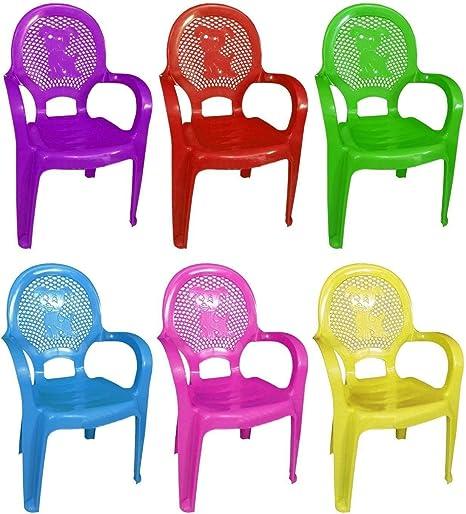 Pack de 4 varios colores niños plástico apilable silla hogar fiesta Picnic Guardería té escuela 30 kg asiento muebles de jardín clubes: Amazon.es: Hogar