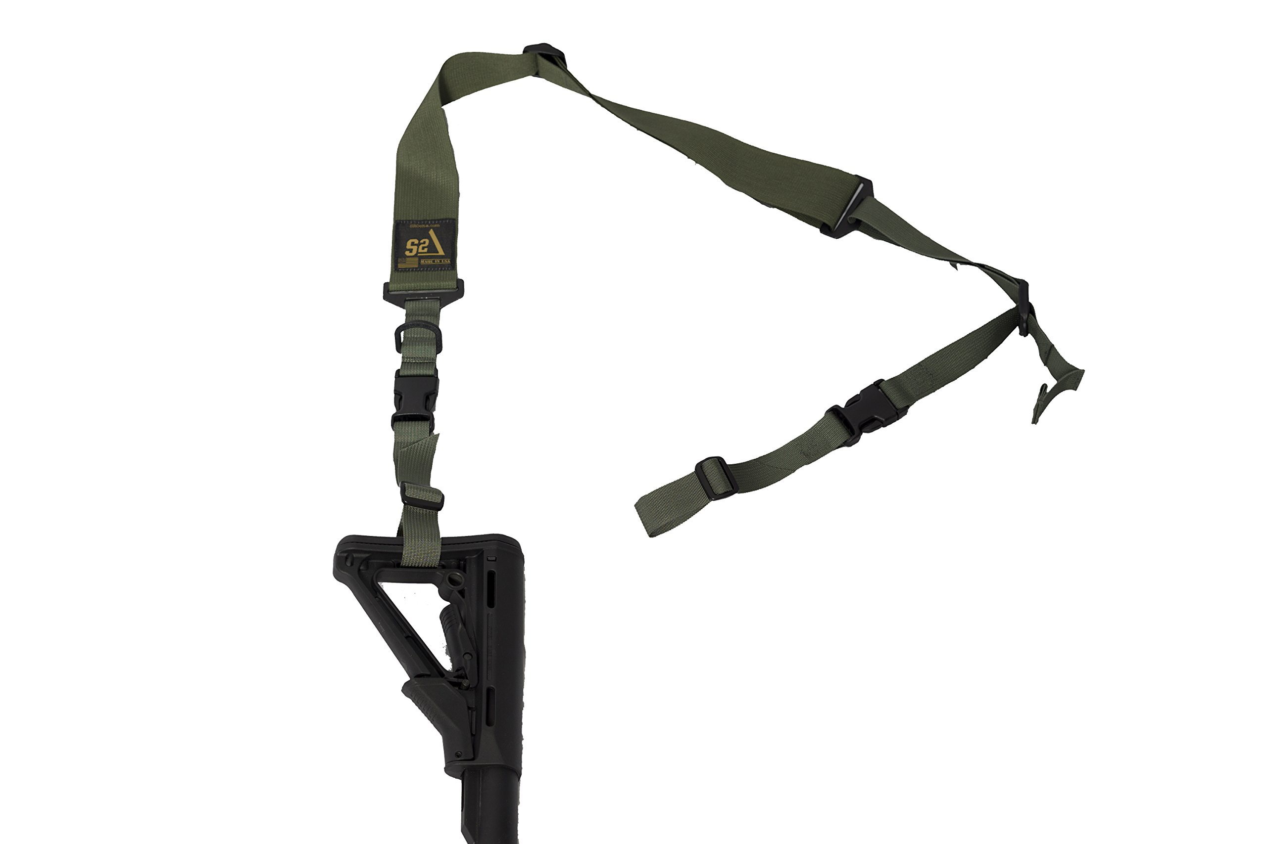 S2Delta - USA Made 2 Point Rifle Sling, Quick Adjustment, Modular Attachment Connections, Comfortable 2'' Wide Shoulder Strap to 1'' Attachment Ends (Green Sling, Pigtail Connector) by S2Delta