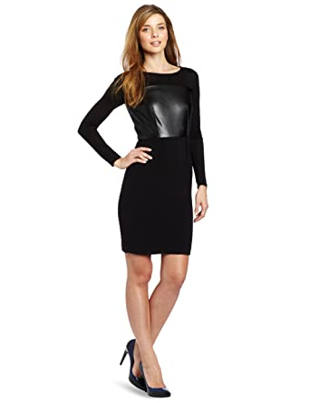 Dknyc Womens Long Sleeve System Dress With Faux Leather Black 4