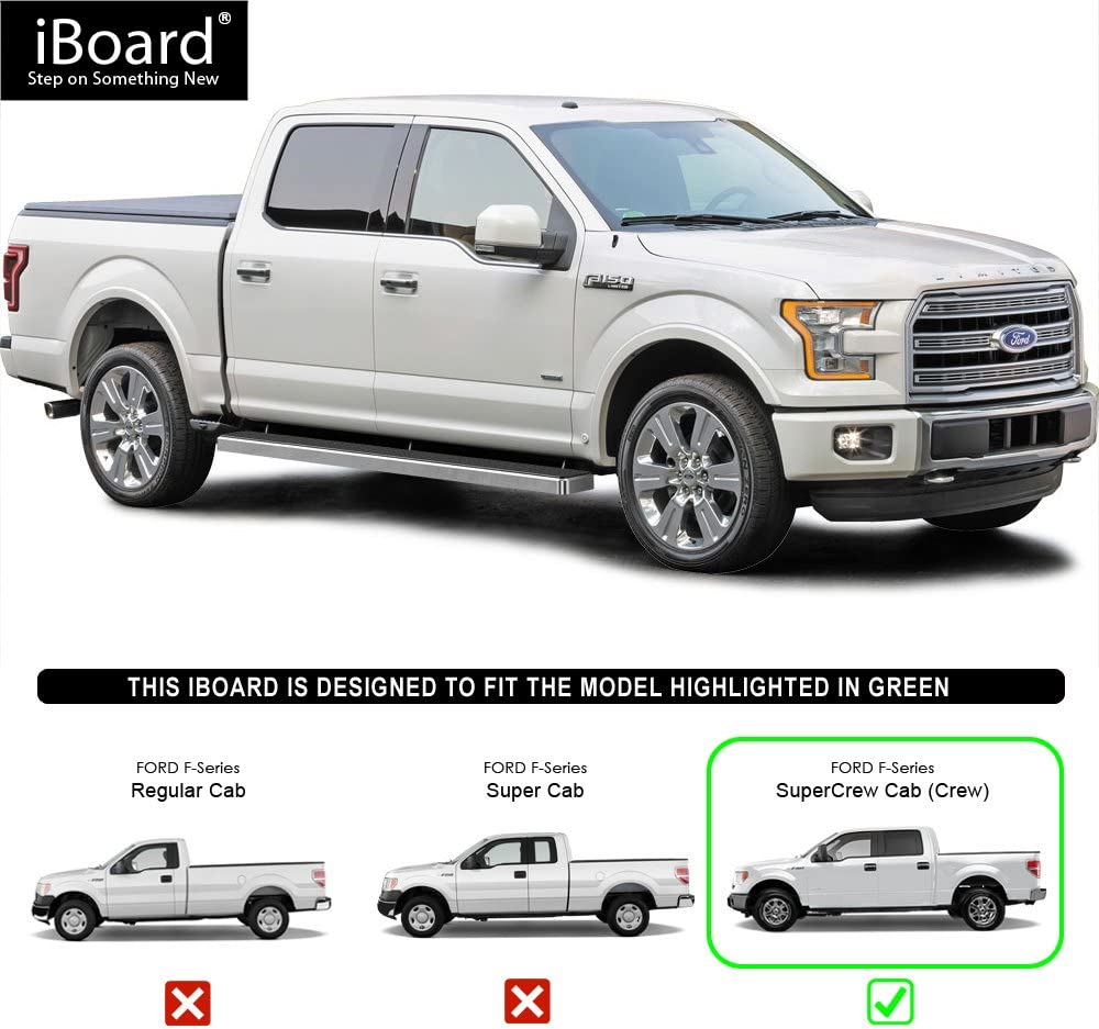 5 Black Eboard Running Boards 2017-2018 Ford F-250//F-350 Super Duty for 2015-2018 Ford F150 SuperCrew Cab Pickup 4-Door Nerf Bar | Side Steps