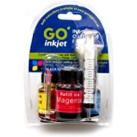 Black and Colour Printer Ink Cartridge Refill Kit CMYK for Brother, Canon, Dell, HP, Lexmark Printers by GO Inkjet