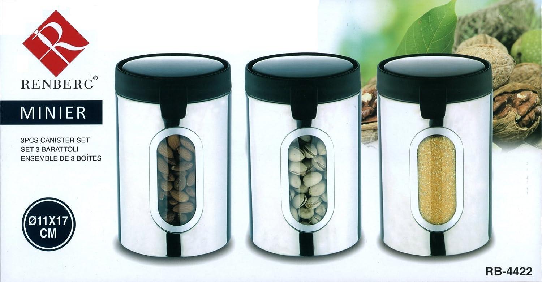 Renberg rb-4422–3 Stück Edelstahl Tee Kaffee Zucker Kanister Set ...