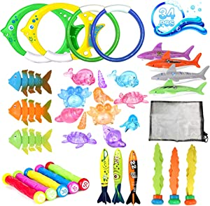 34 Pack Diving Pool Toys Sinking Swimming Training Pool Swim Toys Dive Rings Sticks Torpedo Bandits Shark Toy Diving Fish Under Water Treasures Games Summer Toys Gift Set for Kids Boys Girls Ages 3+