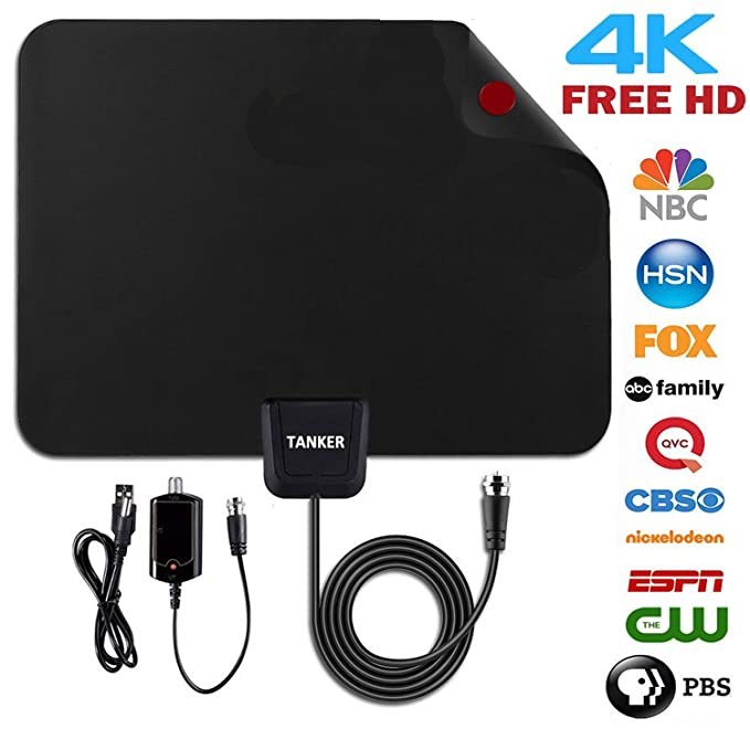 TV Antenna,50 Mile Range Amplified TV Antenna HD with Amplifier Signal Booster and 10ft