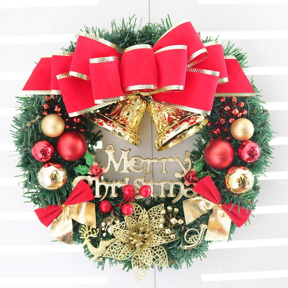 WISREMT 13 Inch Pine Artificial Christmas Wreath, Outdoor Front Door Porch Window Decorative Garland with Bells, Red Berries, Flower, Gift Boxes for Christmas Party Decor (Merry Christmas Wreath #2)