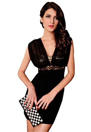 Accessories to black dress v neck