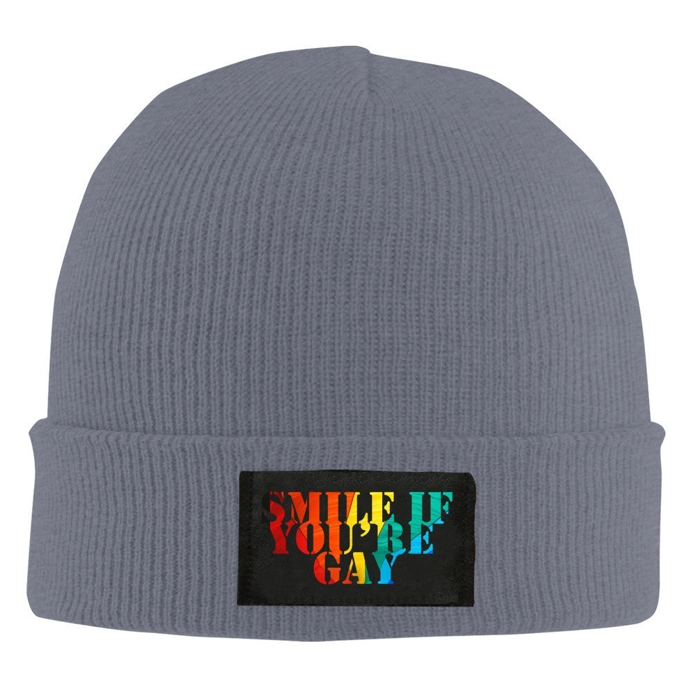 Smile If You're Gay Funy Gay Pride Beanie Hat Snapback Men and Women Winter Cap Navy B01EB4APD2