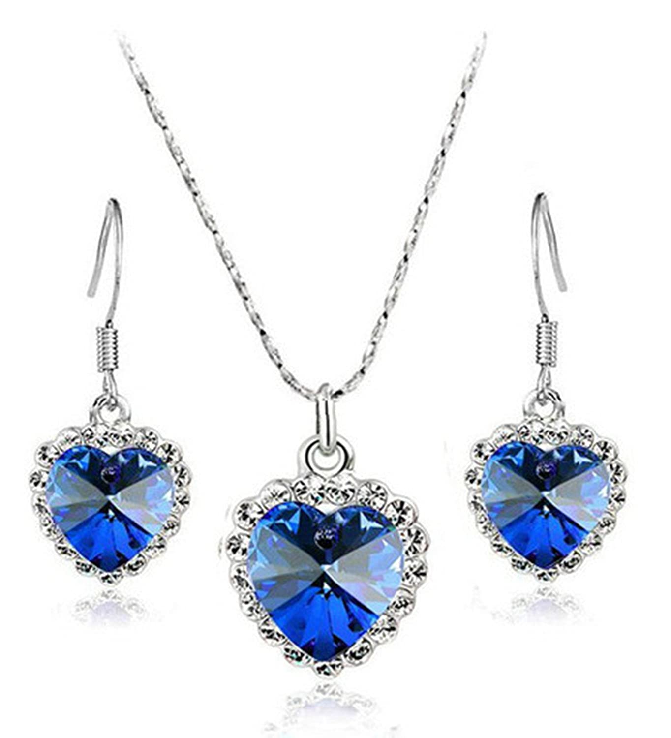 Two Set jewelry pendants necklace and earrings Crystal Heart of