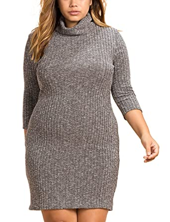 Mantos Eternity Womens Cowl Neck Plus Size Knit Sweater Bodycon
