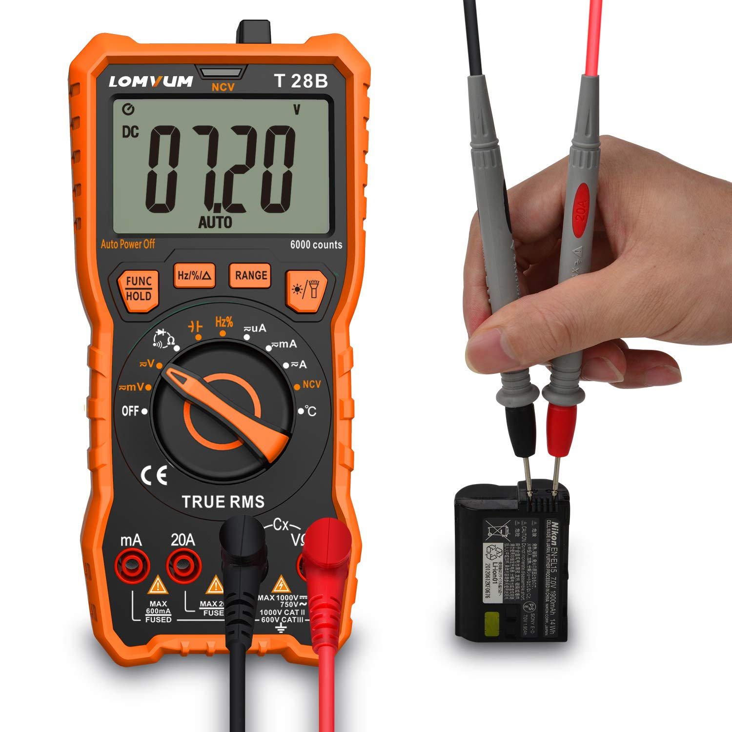 Auto-Ranging Digital Multimeter, 6000 Counts Electrical Tester AC/DC Voltage Current Detector, NCV, Resistance, Capacitance, Diode Electronic, Duty Cycle Tester, 2.7 Inch LCD
