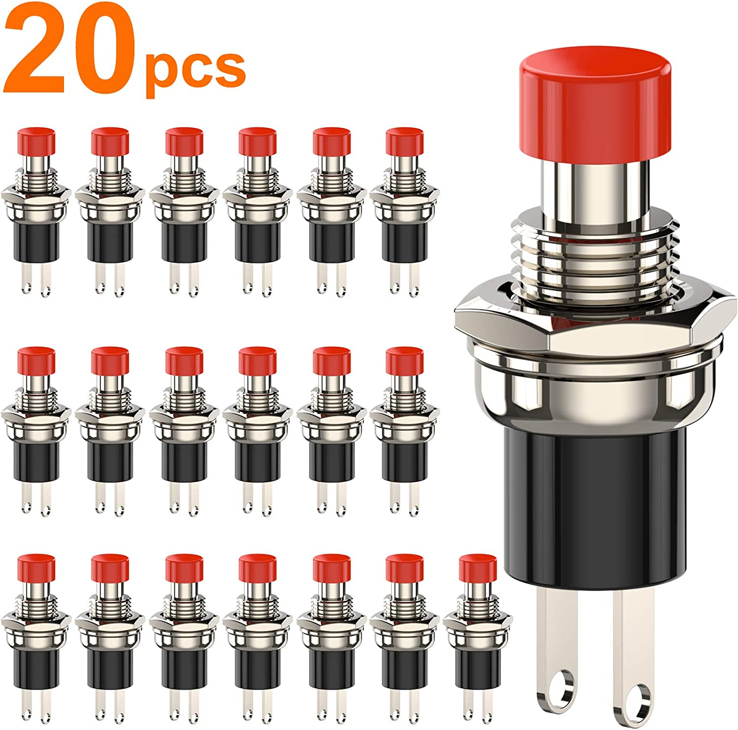 DIYhz Momentary Push Button Switch, 1A 250VAC SPST Mini Pushbutton Switches Normally Open(NO) Red Cap - 20pcs