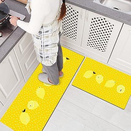 USTIDE 2Pcs Non-Skid/Slip Rubber Back Kitchen Rug Sets Waterproof and Oil  Proof Carpet Doormat,Lemon