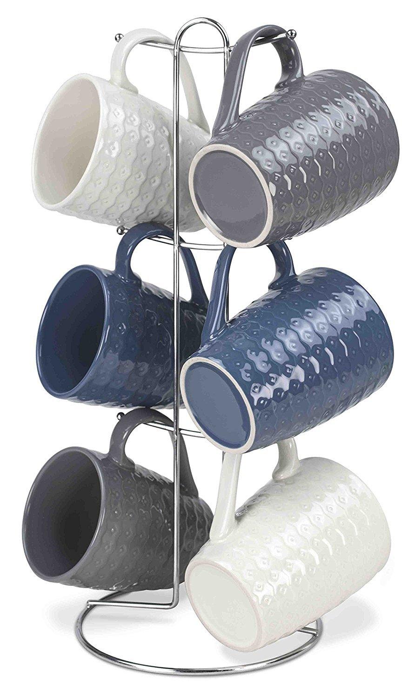 Home Basics 7 Piece Diamond Mug Set 6 11 oz Mugs and Mug Stand in Navy, Gray and White Fun and Stylish Decorative Display For your Kitchen