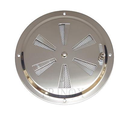 Rejilla de ventilación redonda ajustable 128 mm con mosquitera inoxidable 316 – A4