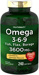Triple Omega 3-6-9 3600 mg 240 Softgels | from Fish, Flaxseed, Borage Oils | Non-GMO & Gluten Free | by Horbaach