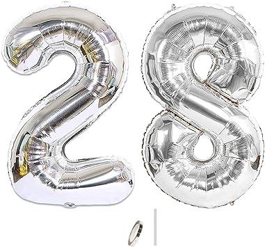 Huture 2 Globos Número 28 Figuras Globo Inflable de Helio Globos Grandes de Aluminio Mylar Globos de Plata Gigantes Número Globos 40 Pulgadas para Fiesta de Cumpleaños decoración graduación XXL 100cm