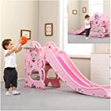 Toddler Climber and Swing Set   3 in 1 Kids Play Climber Slide Playset Indoor Outdoor Playground Toy with Basketball Hoops Activity Center in Backyard (from US, Blue) (from US, Pink-12)