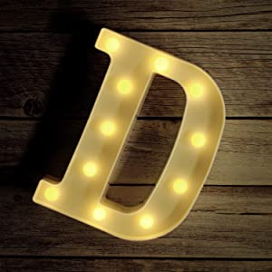 Novelty Place Alphabet Light - Marquee Letters Sign with Shining Bulbs, Standing Night Lamp for Wedding Home Party Bar Décor - Battery Powered, Warm White (Letter D)