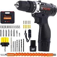 Taladro Atornillador 12V, GOXAWEE 100Pcs Kit Taladro Electrico/Destornillador Eléctrico (2 Baterías de Litio 1500mAh, 30N.m Par Máx, 2 Velocidades, 10mm Portabrocas Automatico)