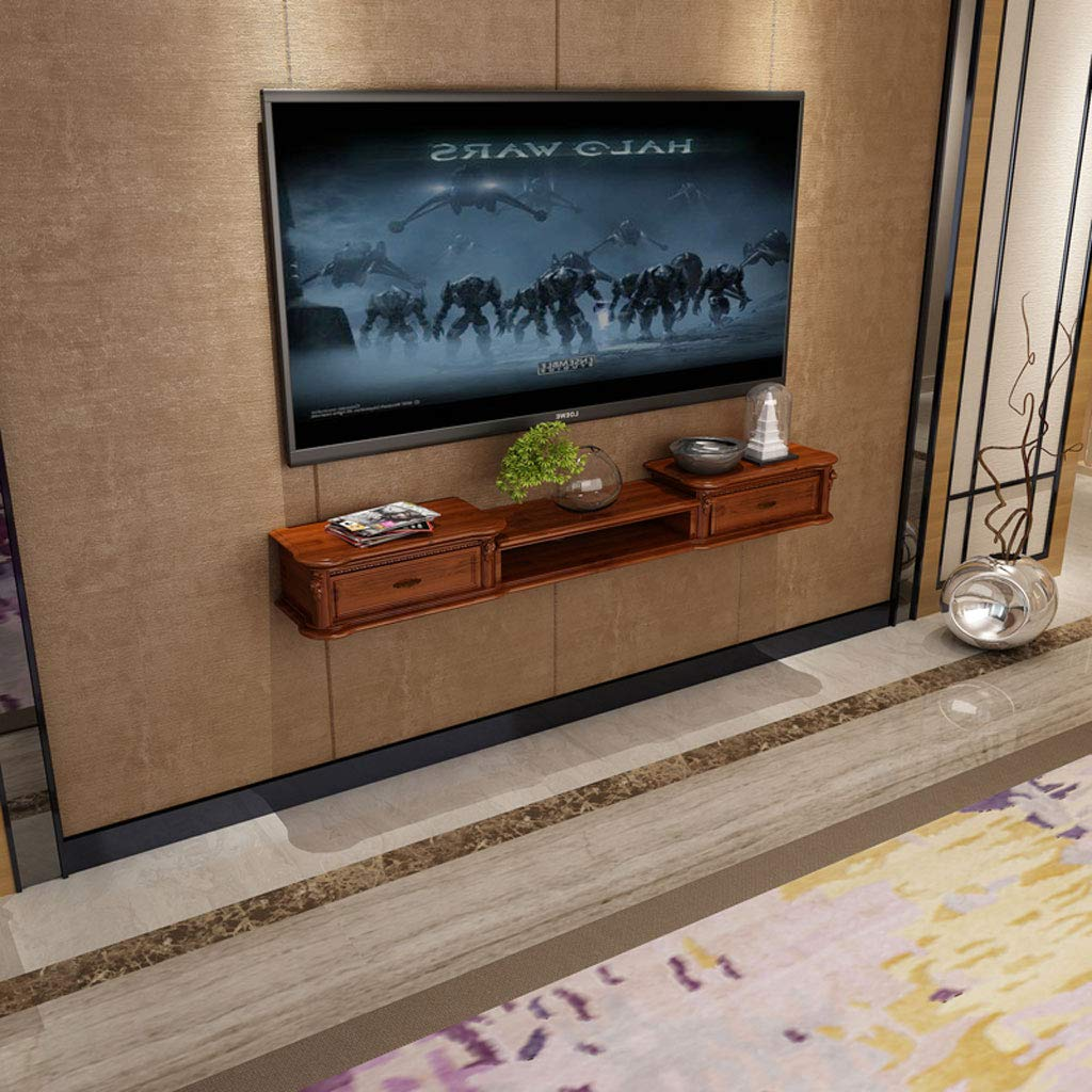 GLJJQMY 壁掛け棚壁掛けテレビキャビネット棚トップボックス収納ラックテレビコンソールテレビ壁飾り吊り壁キャビネット ウォールマウントシェルフ (色 : Brown120cm) B07QP5DHZC Brown120cm