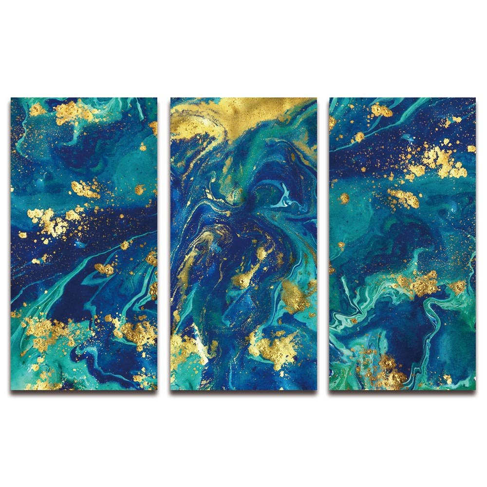 Amazon com sumgar large wall art abstract paintings for living room dark blue teal art prints on canvas 3 panel 16x32x3p posters prints