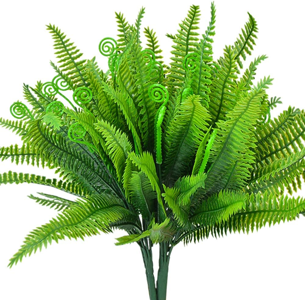 SzJias Artificial Ferns Plants for Outdoors Faux Boston Fern Bushes Home Garden Office Verandah Wedding Decor(Pack of 4)
