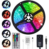 LED Light Strip 5m, Renovo LED Strip 16.4ft 150LEDs 5050SMD Waterproof RGB LED Strip Lights with Remote Control and…