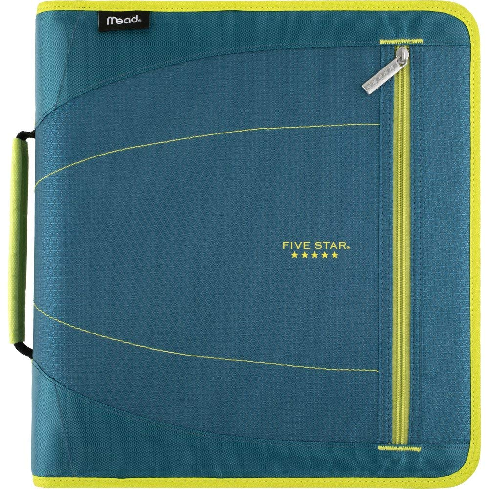Five Star 2 Inch Zipper Binder, 3 Ring Binder, Removable File Folders, Durable, Teal/Chartreuse (29036IH8) by Five Star