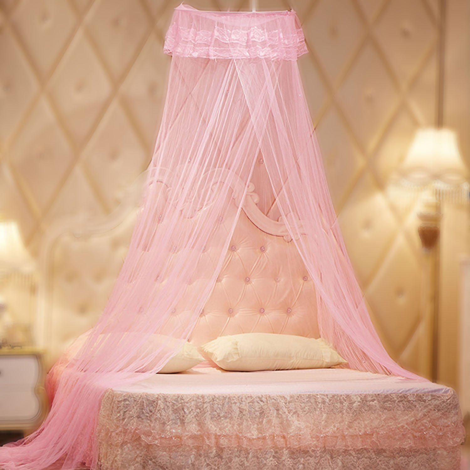 Yimii Round Dome Mosquito Net Princess Bed Canopy, Mosquito Netting Bed Curtains Hanging Canopy for Girls - Pink.