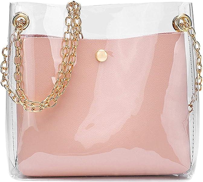 2018 Fashion Women Brand Mini Small Shoulder Bag Clear Transparent  Drawstring Girls Cute Composite Bag Female Handbags 2 Pcs New  Handbags   Amazon.com 84a959ecebdd3
