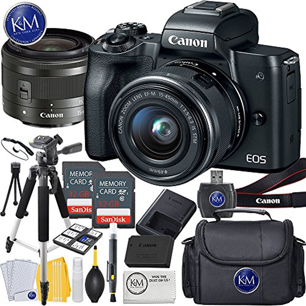 Canon Eos M50 Mirrorless Camera W 15 45mm Black 2 X Flex Flexy Flexyble Aperture 18 55 Is 32gb Deluxe Photo Bundle