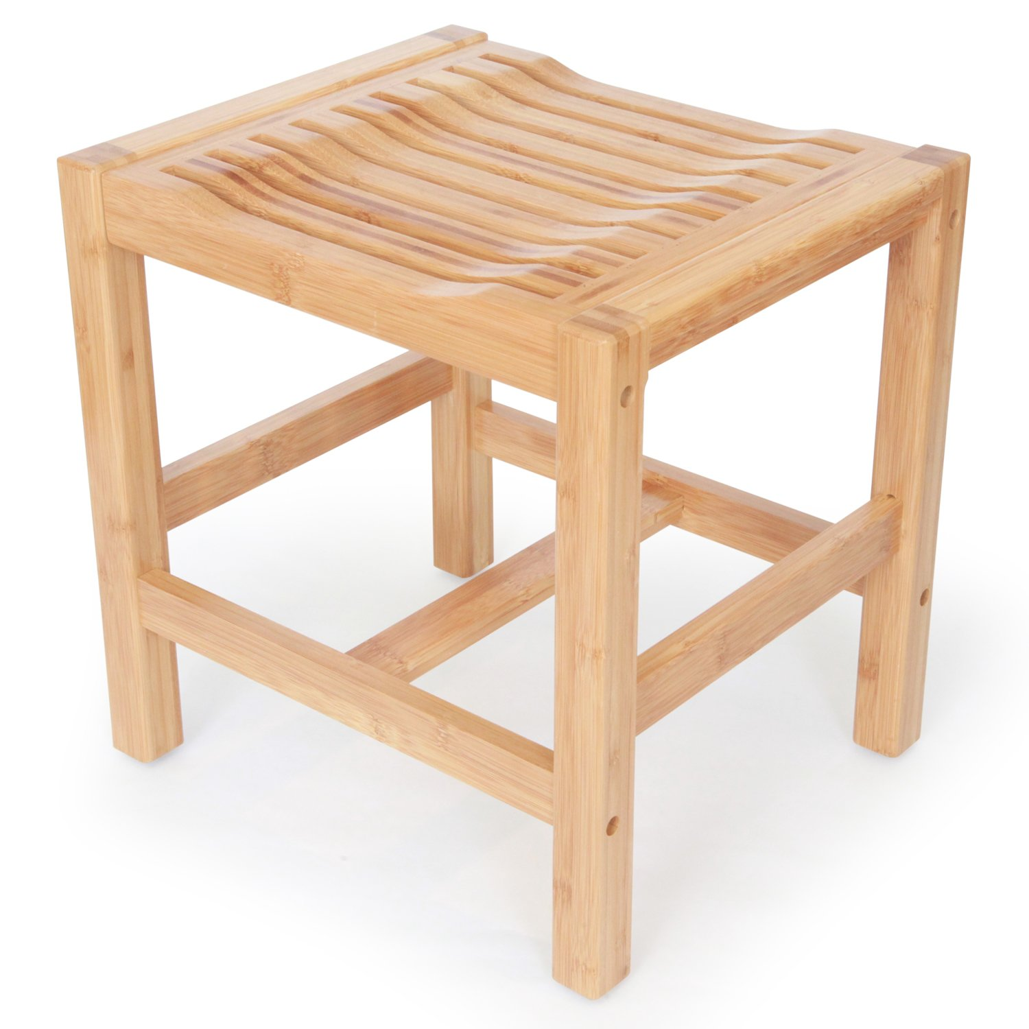 CDM product ToiletTree Products Deluxe 100% Wooden Natural Bamboo Shower and Bath Seat Bench big image