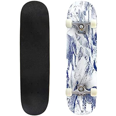 Classic Concave Skateboard Vintage Seamless Pattern with Tropical Floral and Wild Animal Jungle Longboard Maple Deck Extreme Sports and Outdoors Double Kick Trick for Beginners and Professionals : Sports & Outdoors