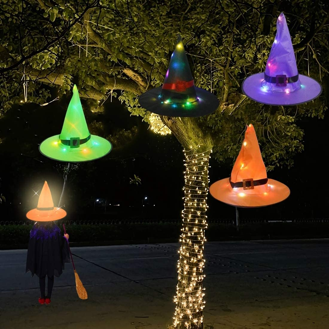 7mohugme Halloween Decorations Witch Hat Outdoor 4Pcs Hanging Lighted Glowing Witch Hat Decorations Halloween Lights String Battery Operated Halloween Decor for Outdoor, Yard, Tree