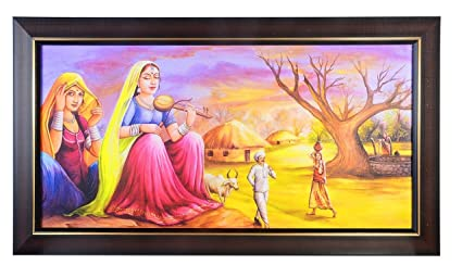 JaipurCrafts Beautiful Rajasthani Village Modern Art Texture Print With UV Canvas Painting
