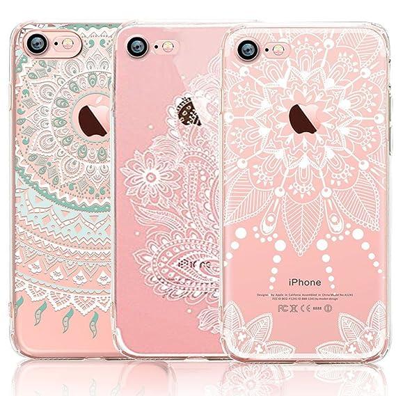 super popular 1c515 e464f iPhone 7 Plus Case, iPhone 8 Plus Case, CarterLily [3-Pack] Clear Colorful  Mandala Henna White Flower Design Pattern Soft Flexible TPU Back Case for  ...