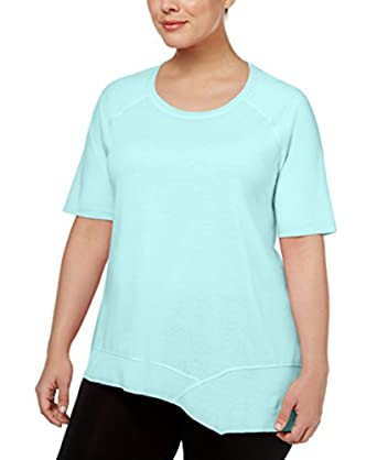 a38436e411a70 Calvin Klein Performance Womens Plus Asymmetrical-Hem Short Sleeves T-Shirt  - Blue -