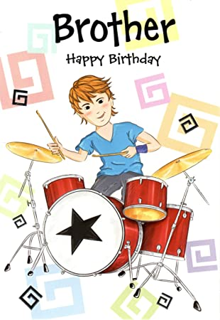 Brother Drums Happy Birthday Greeting Card Drumkit Sticks