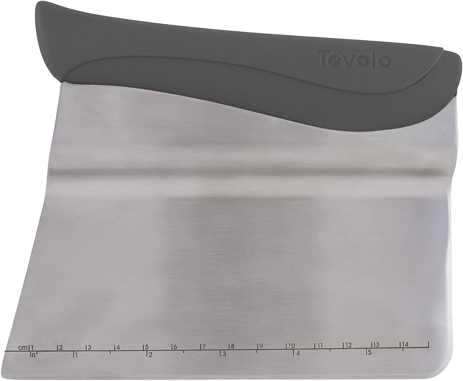 Tovolo Bench Measurement Guide Dough Divider With Offset Blade, Pastry Scraper With Ruler, Ergonomic Baking Tool, Dishwasher-Safe & BPA-Free, Charcoal