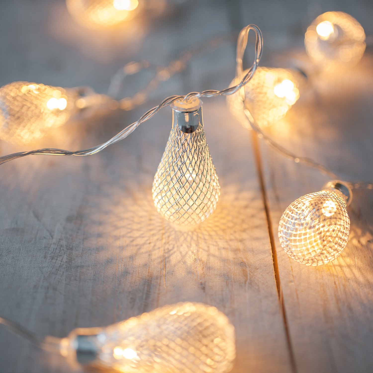 10 silver teardrop battery operated led fairy lights by lights4fun 10 silver teardrop battery operated led fairy lights by lights4fun amazon lighting aloadofball Image collections