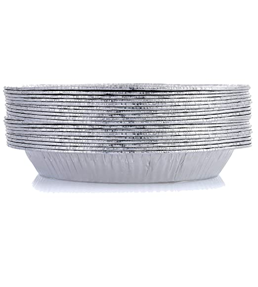 Bandeja de aluminio desechable de HBaker, para el congelador y el horno, para pizzas, tartas y pasteles, almacenar y recalentar, aluminio, 20 Pack, ...