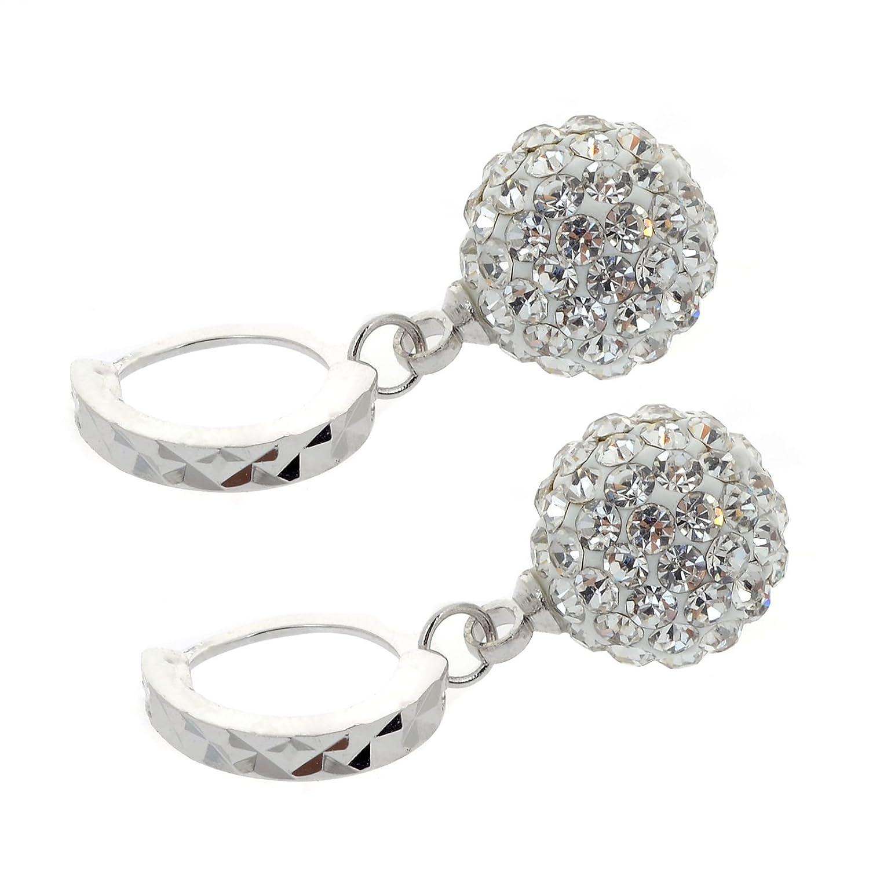 CS-DB 18K Gold Real 18K White Gold Filled Crystal Rhinestone Hoop Earrings Womens Vintage Swarovski CS-DB Gold