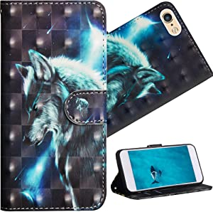 HMTECH iPhone 5S 4 Inch Case Premium 3D Colorful Painting Wallet Case Folio Flip PU Leather with Stand Card Holder Slots Design Full-Body Protective Cover for iPhone 5S & SE & 5 Wolf YX